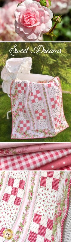 "Create the perfect gift for a baby shower, new grandchild, or special little one in your life with the Sweet Dreams Girl Quilt! This lovely quilt full of delicate florals, sweet ginghams, and beautiful stripes is sure to be a beloved heirloom for years to come! Quilt finishes to approximately 38½"" x 52½""."