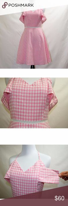 NWOT JOA pink gingham pattern mini dress New without tag  This charming off-shoulder dress is detailed with a pastel gingham pattern. Lattice trim accents the waist.  Sleeveless.  Hidden back zip. Lined skirt.  Fabric: Voile. Shell: 100% polyester. Lining: 100% cotton. Hand wash, No care label Size Small - Length: 34.75in / 88cm, from shoulder J.O.A Dresses Mini
