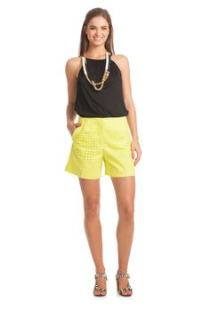 Valera Short - TrinaTurk yellow short, black halter top with brown necklace/accesories
