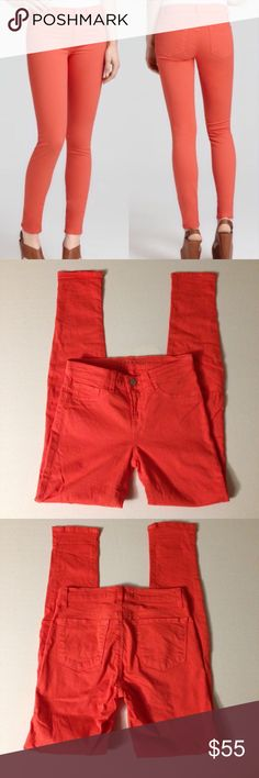 """J Brand Skinny Jeans - Orange J Brand Skinny Jeans - Orange. Skinny Leg Stretch Jeans Tangerine. 2 Back Pockets, Faux Front Pockets. Inseam 29"""", Waist 13"""". Low Rise, Jeggings, Colored Denim. Excellent Pre-Worn Condition. No Visible Stains, Fading or Flaws. Retail $189.00 #12281604 ✨Please keep in mind that measurements are provided only as a guide and are approximate. Color appearance may vary depending on your monitor settings. J Brand Jeans Skinny"""