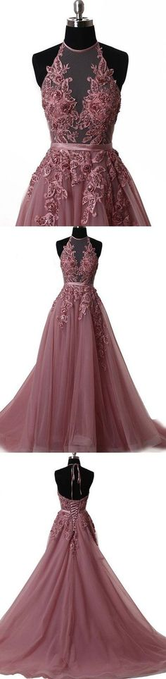 Elegant tulle lace long prom dress, lace evening dress G0004