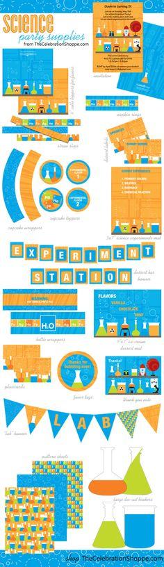 Science Party Supplies {bubble, pop, fizz!}   Kim Byers TheCelebrationShoppe.com #science #party #orangeblue #experiment