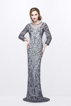 1a5cf5e095 Primavera Couture - Long Fitted Sequined Dress 1749