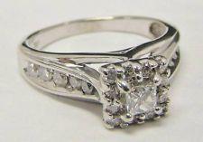 14K WHITE GOLD DIAMOND RING KEEPSAKE MELODY 5/8 CTTW PRINCESS CUT 4.3g SIZE 7.75