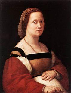 """Raphael (1483-1520) Portrait of a Woman Oil on panel 1505-1506 66 x 52 cm (25.98"""" x 20.47"""")"""