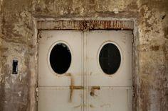 Dark, old elevator doors