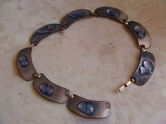 RARE Retro Modernist 1960's Enamel on Copper Choker Necklace by Kay Denning