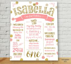 First Birthday Poster / Customized Birthday Sign / Pink and Gold First Birthday Sign / ONE / PRINTABLE POSTER / 1948 by FancyShmancyNotes on Etsy (null)