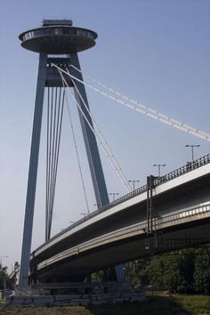 The most characteristic part of the New Bridge: UFO connected to the bridge with steel cables Bratislava Slovakia, Next Holiday, Continents, Ufo, Cities, Around The Worlds, Europe, Explore, Steel