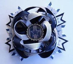 DALLAS COWBOYS FOOTBALL STAR LARGE BOUTIQUE HAIR BOW FRENCH BARRETTE HANDMADE   #Handmade