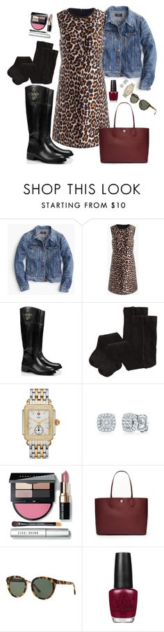 """J.Crew Leopard Dress"" by handbagaficionado ❤ liked on Polyvore featuring J.Crew, Tory Burch, H&M, Michele and OPI"