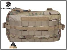 Emerson 500D Molle Tactical Multi-functional Pouch Utility Pouch Sundries Bag Hunting Waist EDC Bag Camo Black/Arid 32x18CM.