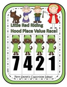 Place Value Race Game Little Red Riding Hood Theme By Fern Smith  Common Core Standards For Place Value  1.NBT.2 ~ 1.NTB.3  2.NBT.1 ~ 2.NBT.3 and 2.NBT.4  3.NBT.2 $