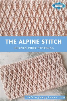 The Alpine Stitch Pattern is an easy crochet pattern that you can use to crochet baby blankets, afghans, shawls etc. Find the photo & video tutorial for beginners with step by step instructions on Crafting Happiness. Fpdc Crochet Stitch, Basic Crochet Stitches, Crochet Basics, Easy Crochet Patterns, Stitch Patterns, Knitting Patterns, Front Post Double Crochet, Learn To Crochet, Crochet Projects