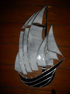 """Stained Glass Sailing SHIP 16 1 2"""" Tall 