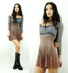 Vtg 90s Purple LACE Grunge Goth TIE DYE Babydoll Festival MINI Dress would be cute with some leggings :)