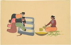 "Andrew Tsinajinnie, ""Navajo Women Grinding Corn,"" c. gouache over graphite on wove paper Native American Heritage Month, Native American Art, American Indians, Navajo Women, National Gallery Of Art, Funky Hairstyles, Art Object, Grinding, Gouache"