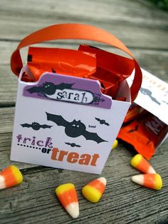 adorable FREE printable to make tiny treat bags. going to make these for our friends we are Trick or Treating with.