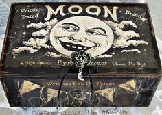 Altered Art Moon Witch Witches Wood Box Mixed by VeenasMercantile, $65.00