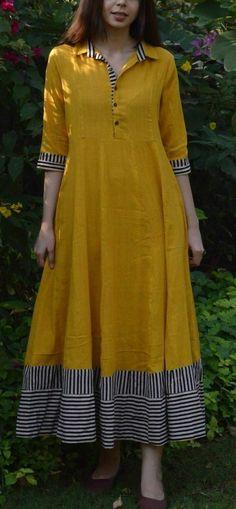 Mustard Flared Maxi with multi-color border Churidar Designs, Kurta Designs Women, Kurti Back Designs, Long Kurta Designs, Pakistani Dresses, Indian Dresses, Indian Sarees, Kurta Neck Design, Collar Kurti Design