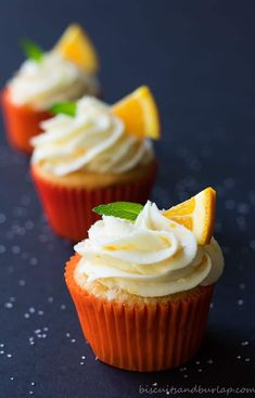 Orange cupcakes with cream cheese orange frosting | Posted By: DebbieNet.com