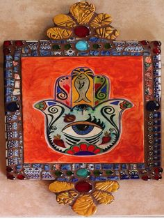 "Large ""HAMSA"" mosaic retablo created with Polish pottery shards by New Mexico Artist Susanne Baca"