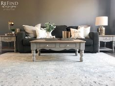 Farmhouse Coffee Table with Matching Side Tables perfectly updated with CeCe Caldwell's Beechnut Gray Stain and Finish and Miss Mustard Seed's Milk Paint in Schloss.