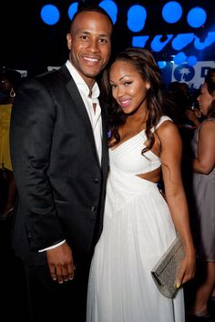 Devon Franklin and Meagan Good pose inside the 2012 BET Awards – After Party at Lure on July 1, 2012 in Hollywood, California.