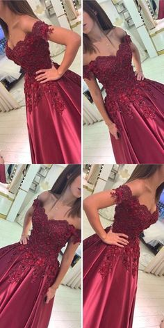 Elegant Satin Ball Gow Prom Dresses Lace Off The Shoulder Burgundy Satin Ball Gown Wedding Dresses L Cute Prom Dresses, 15 Dresses, Pretty Dresses, Beautiful Dresses, Formal Dresses, Ball Dresses, Bridal Gowns, Gown Wedding, Lace Wedding