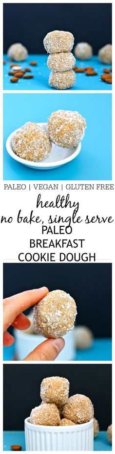 {No Bake} Paleo Breakfast Cookie Dough- This delicious, no bake paleo breakfast cookie dough is perfect for a grab and go breakfast- It's single serving, paleo, vegan and gluten free and has the taste and texture of cookie dough- Minus the sugar crash! Ready in less than 5 minutes! @thebigmansworld -thebigmansworld.com