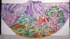 Vintage Hand Painted Purple Sierra Madre Mexican Hombre Circle Skirt
