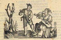 Xilografía en cabecera de una escena campestre con un hombre de pie tocando el laúd y una mujer sentada tocando la guitarra