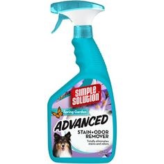 """Simple Solution Advanced Spring Garden Stain  Odor Remover, 32 oz = $5 at Walmart.  Trust me when I say I am an expert at pet stains.  Today, I bought a black light - to see what I've been """"missing"""".  Three places that I cleaned last night with this stuff - NEW stains - did NOT fluoresce , whereas other places I had cleaned before with other products did glow with the black light.  I'm impressed!"""