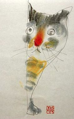 Illustration by Shozo Ozaki. #cat #illustration #art