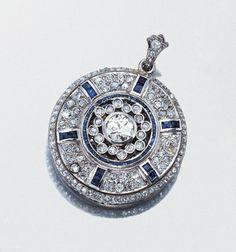 Diamond and Sapphire Reversible Pendant - circa 1915.