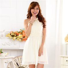 Chiffon beaded scarf wrapped white dress