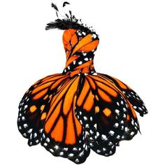 LULY YANG Monarch Butterfly Dress ❤ liked on Polyvore featuring dresses, white butterfly dress, monarch butterfly dress, butterfly print dress, white couture dresses and butterfly dress