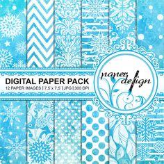 Digital Scrapbooking digital paper pack Karten blau von Stilboxx