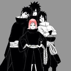 Sakura, Sasuke, Obito, and Madara... The only Uchiha with pink hair.
