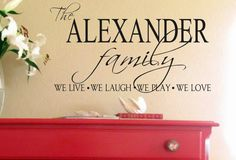 Family Vinyl Wall DecalPersonalized Family Name by landbgraphics, $20.00haha she used our name for example