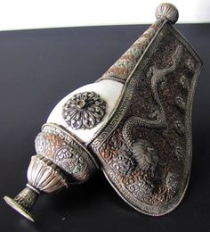 Old Tibet Buddist Dragon Bronze/Silver Inlay Conch Shell Flute