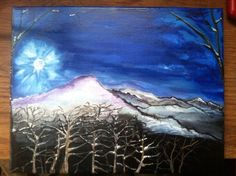 Here it is with bits of colors in the mountains and trees.  I will end up darkening it lots along the way and sprinkle in snow and stars.  I paint every piece up on the mountain and even use ColdMountainfreshwater for  mixing my paint.  #ColdMountainGypsyWagon #ColdMountainGypsy #ColdMountainArt #Art #Paint.