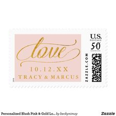 Shop Personalized Names Blush Pink & Gold Love Wedding Postage created by beckynimoy. Pink And Gold, Blush Pink, Custom Postage Stamps, Make All, How To Make, Wedding Postage, Best Gifts, Love, Wedding Stamps