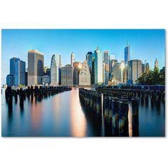 Trademark Fine Art Brooklyn Bridge Park and Financial District - II Canvas Art by David Ayash, Size: 30 x 47, Multicolor