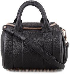 Alexander Wang Rockie Crossbody Satchel Bag, Black/Rose Golden