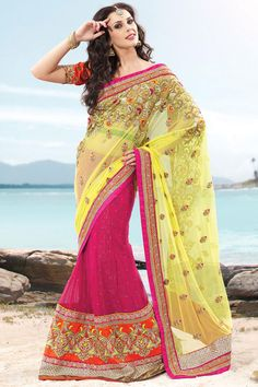 Designer Embroidered Party Lehenga Saree; Lemon Yellow and Persian-rose Pink Net Embroidered Party and Festival Lehenga Style Saree
