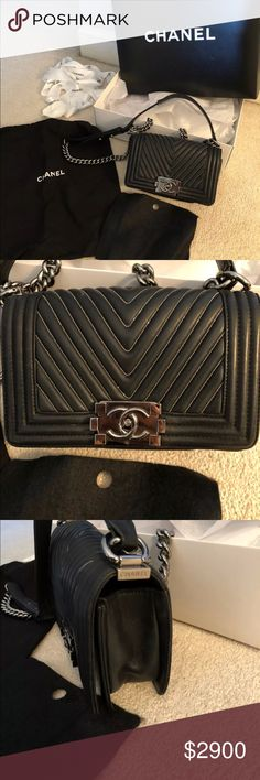 """Small Chanel Le Boy Chevon Bag Comes with original box, certificate card, dustbag, tag, even the ribbons and flowers it came with :), and tissue paper with Chanel sticker. Size: 7.9"""" x 4.7"""" x 2.8"""". Chain Drop: 21"""" CHANEL Bags"""