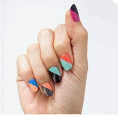 Simple nail art -- maybe pick one color scheme for all nails? So fun and cute for graduation! #graduation #nails #nailart
