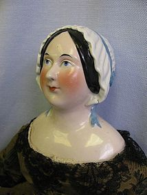 "24"" Super-Rare c1840 MOLDED-BONNET CHINA Head Doll Pink (item #1272492) #dollshopsunited"