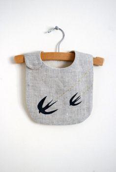 swallow bib  linen bib for baby or toddler / by yorikoNewYork, $25.00